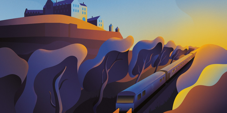 Caledonian Sleeper Posters | Journey of a night time Edinburgh